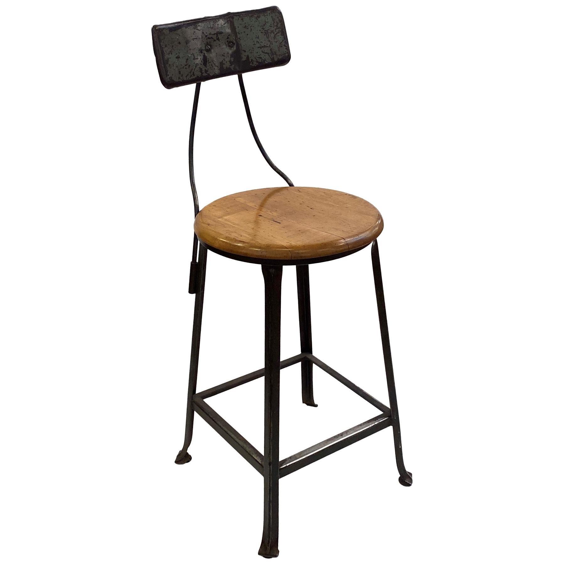 1940s Industrial Bar Height Steel & Wood Stool