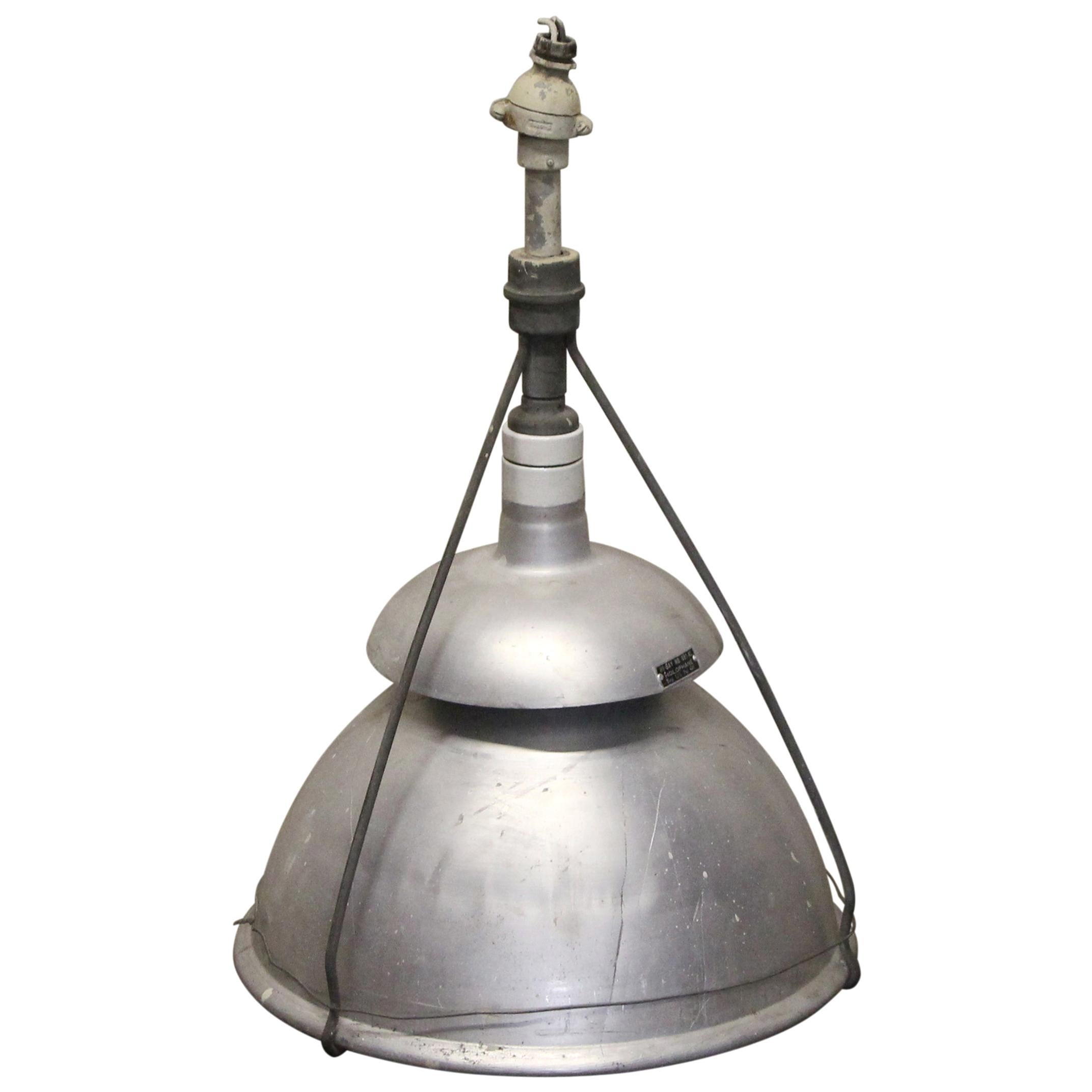 1940s Industrial Holophane Pendant Light with Aluminum Shield