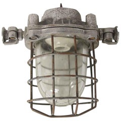 1940s Industrial Nautical Ship Sconce or Ceiling Light with Cage
