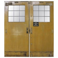 1940s Industrial Pair of Commercial Wood Double Doors with 9 Lites Ea.