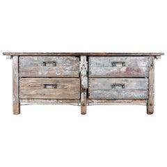 1940s Industrial Wooden Worktable