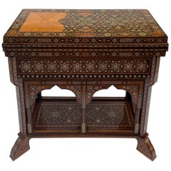 1940s Inlaid Syrian Folding Game Table with Mother of Pearl and Exotic Woods