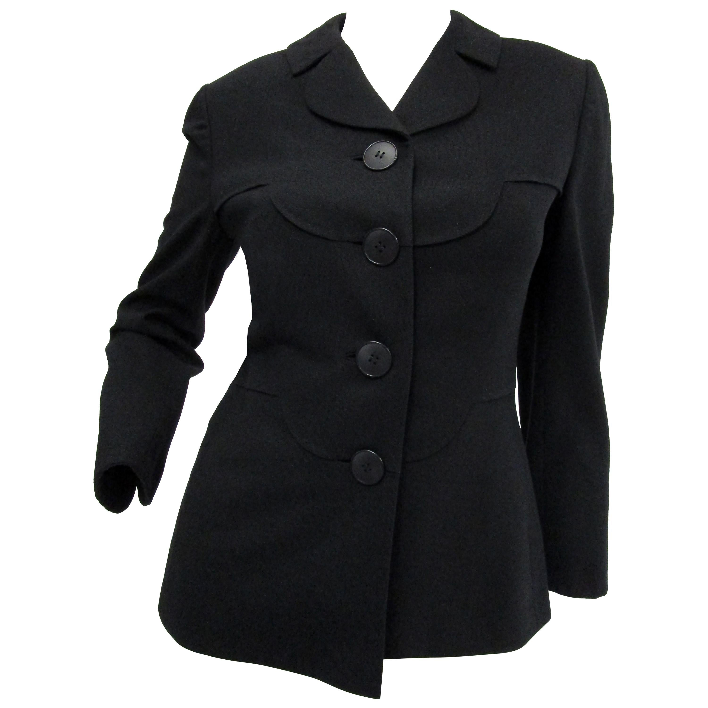 1940s Irene Lentz Black Wool Blazer with Scallop Detail