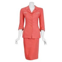 1940's Irene Lentz Couture Coral Pink Linen Sculpted Three-Piece Suit Ensemble