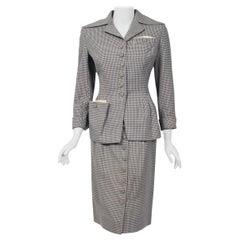 1940's Irene Lentz Steel-Blue Gingham Gabardine Deco Button Tailored Skirt Suit