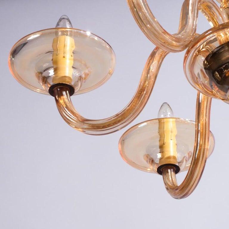 1940s Italian Amber Glass Murano Chandelier For Sale 7