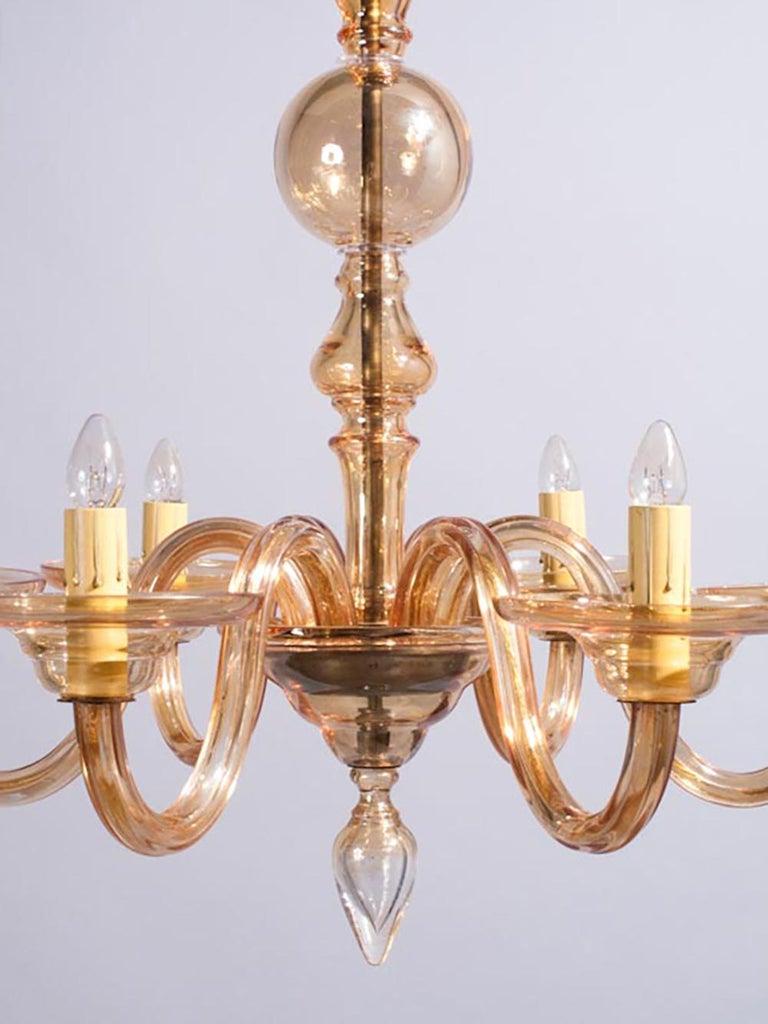 1940s Italian Amber Glass Murano Chandelier For Sale 9