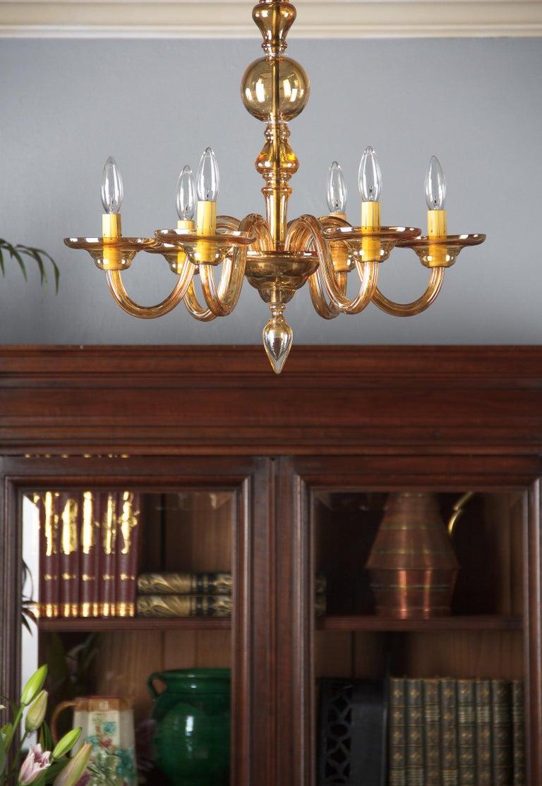 1940s Italian Amber Glass Murano Chandelier For Sale 15
