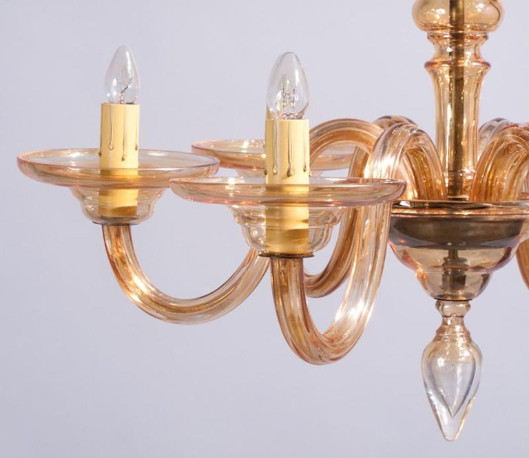 1940s Italian Amber Glass Murano Chandelier For Sale 3