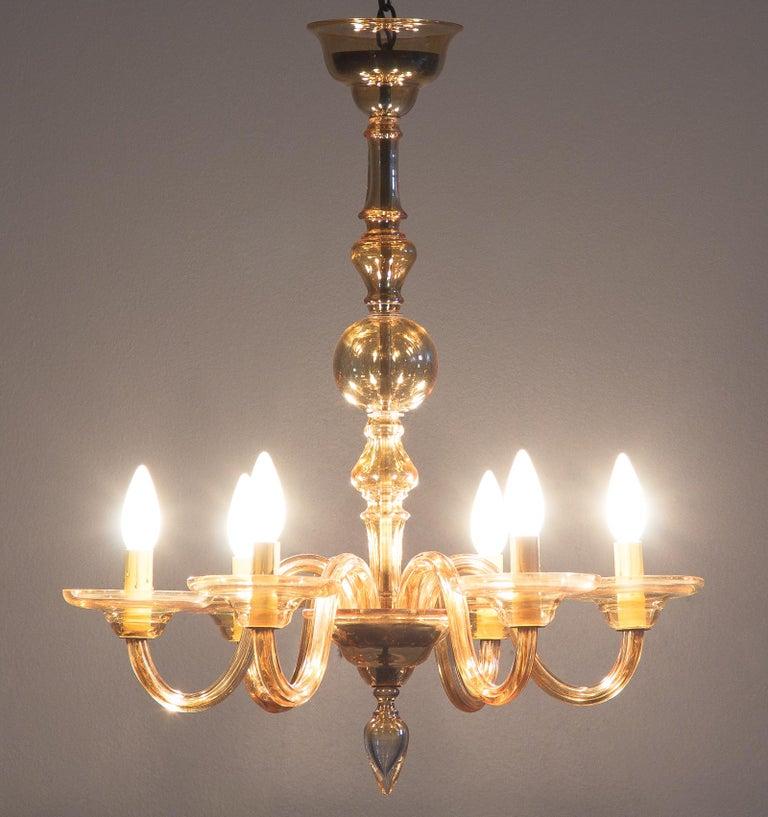 1940s Italian Amber Glass Murano Chandelier For Sale 5