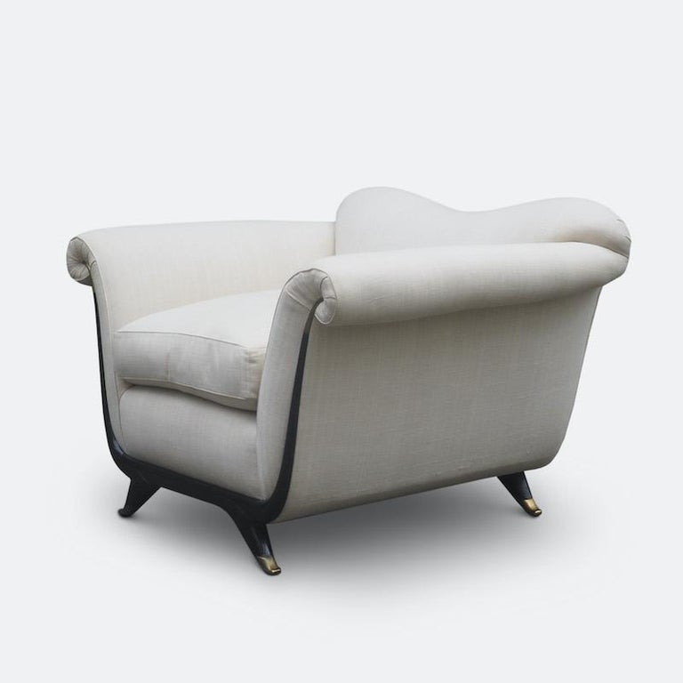 Art Deco 1940s Italian Armchairs Attributed to Guglielmo Ulrich For Sale