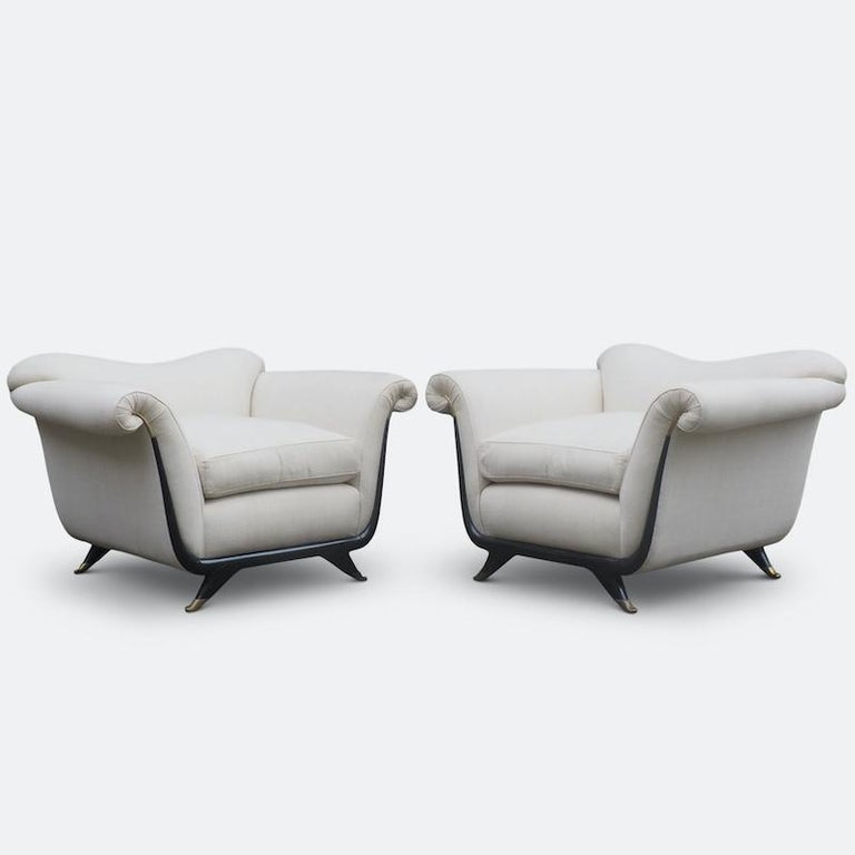 1940s Italian Armchairs Attributed to Guglielmo Ulrich In Good Condition For Sale In London, GB