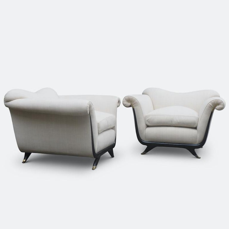 Mid-20th Century 1940s Italian Armchairs Attributed to Guglielmo Ulrich For Sale