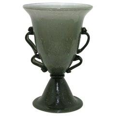 1940s Italian Art Deco Black and Smoked Gray Blown Murano Glass Lamp