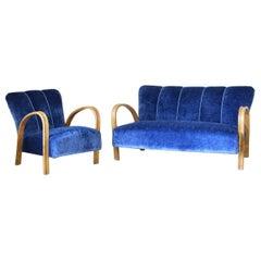 1940s vintage Blue Velvet sofa and armchair in art deco style