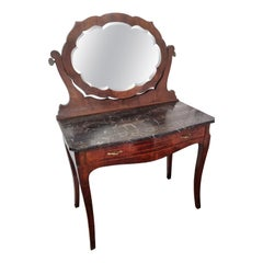 1940s Italian Art Deco Burl and Marble Vanity Dressing Table with Beveled Mirror