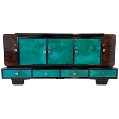 1940s Italian Art Deco Colored Parchment Sideboard