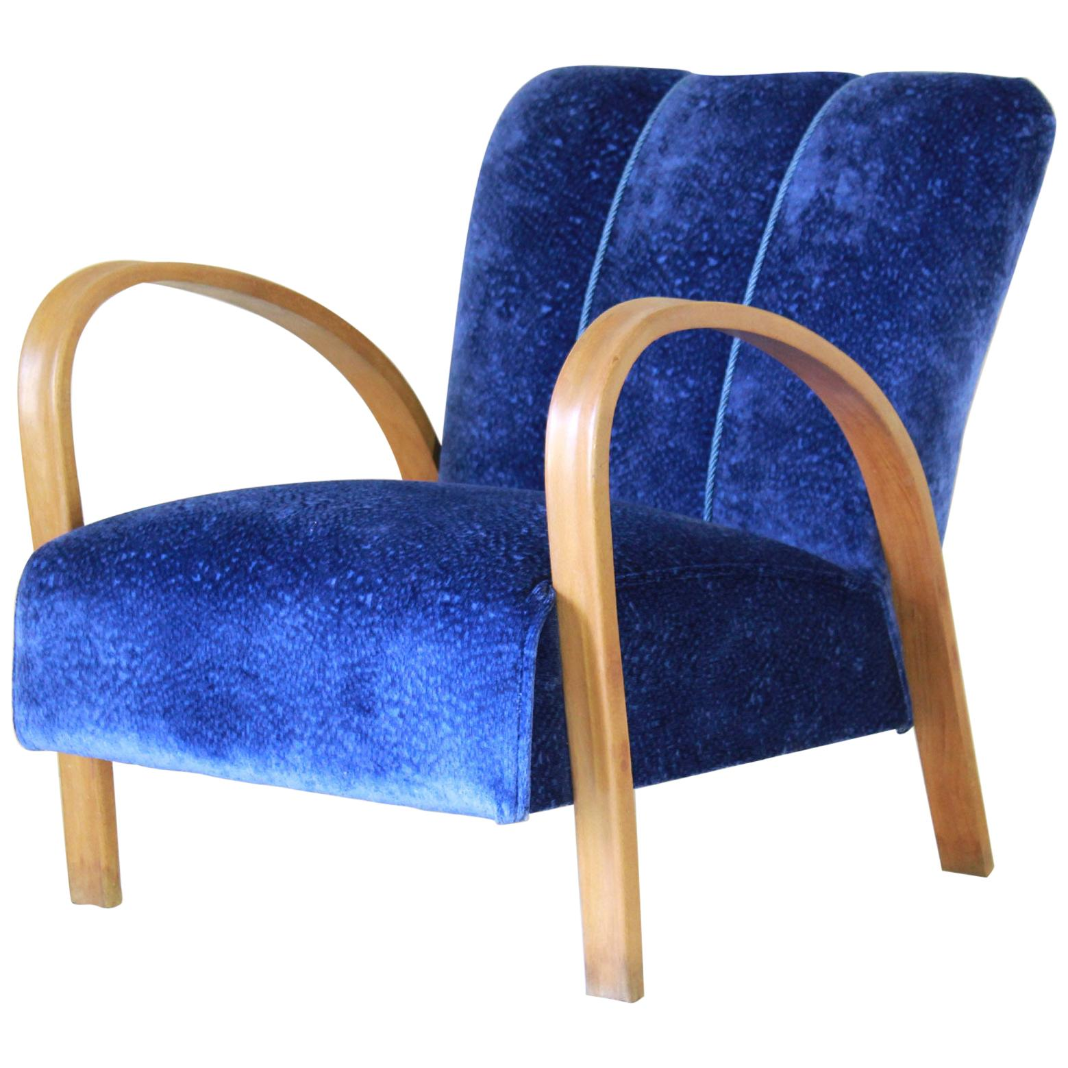 1940s vintage Velvet Armchair in art deco style