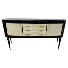1940s Italian Black and Parchment Sideboard