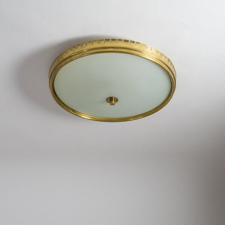 1940s Italian Brass Flush Mount by Paolo Buffa For Sale 8