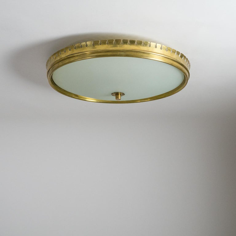 1940s Italian Brass Flush Mount by Paolo Buffa For Sale 10