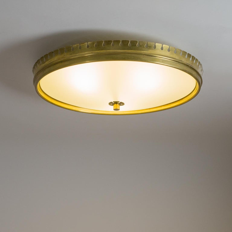 Frosted 1940s Italian Brass Flush Mount by Paolo Buffa For Sale