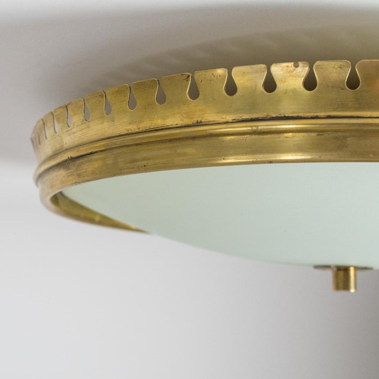 1940s Italian Brass Flush Mount by Paolo Buffa In Good Condition For Sale In Vienna, AT