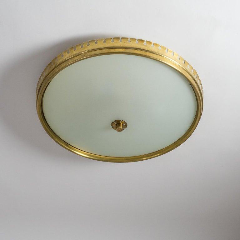1940s Italian Brass Flush Mount by Paolo Buffa For Sale 3