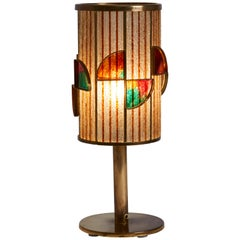 1940s Italian Bronze Base with Multi-Beaded Shade with Pâte De Verre Detail