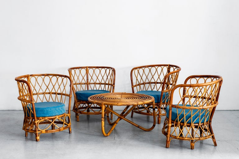 1940s Italian Caned Armchairs In Good Condition For Sale In Los Angeles, CA