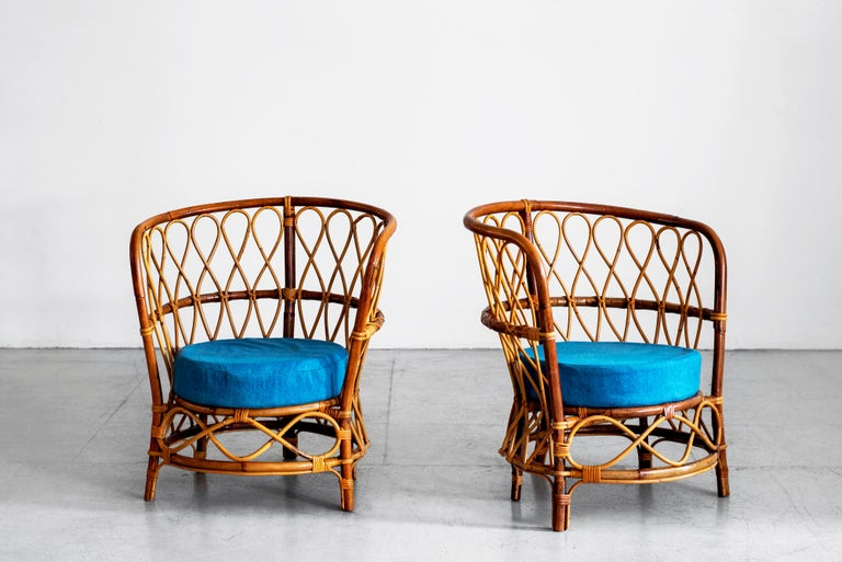 Mid-20th Century 1940s Italian Caned Armchairs For Sale