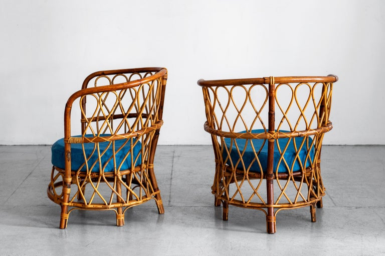 Bamboo 1940s Italian Caned Armchairs For Sale