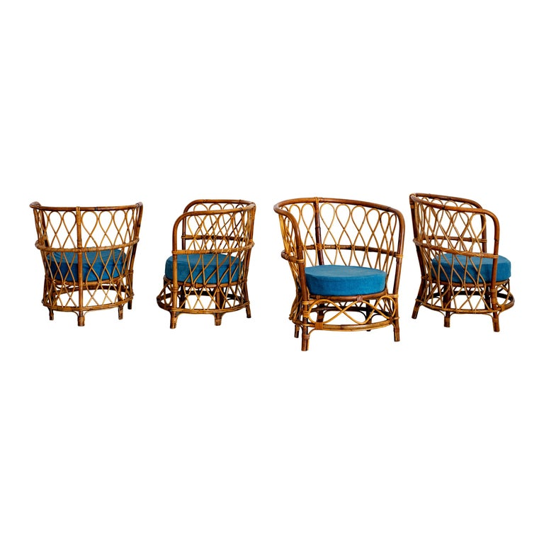 1940s Italian Caned Armchairs For Sale