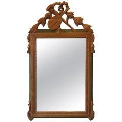 1940s Italian Carved Wood Mandolin & Horn Mirror