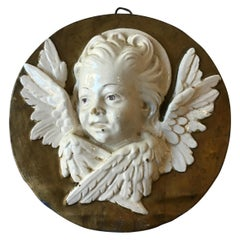 1940s Italian Ceramic Angel Plaque
