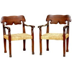 1940s Italian Design Gaudì Style Rope and Wood Pair of Chairs