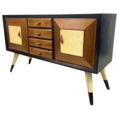 1940s Italian Ebonised Oak and Parchment Sideboard