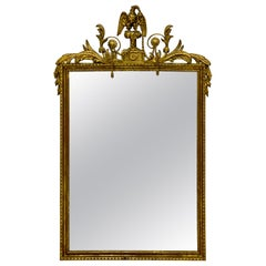 1940s Italian Giltwood Federal Style Mirror with Carved Eagle