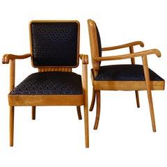 1940s Italian Mid-Century Modern Oak Armchairs, Black Jacquard Fabric