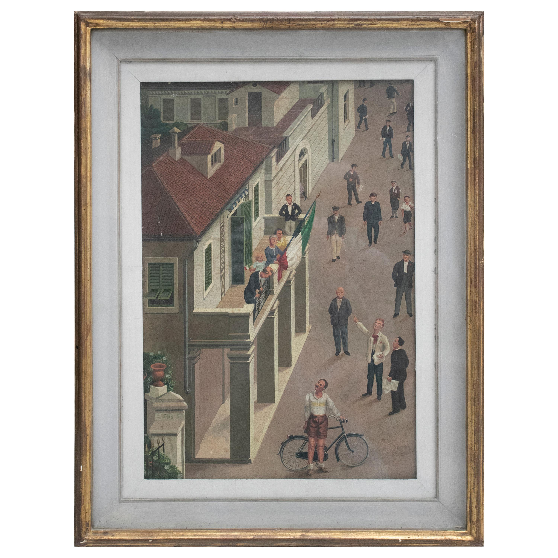 1940s Italian Oil on Wood Painting Naif Style Signed E. BO