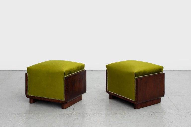 Pair of charming 1940s Italian stools with mahogany frame and cube shape.  Upholstered in chartreuse green velvet.