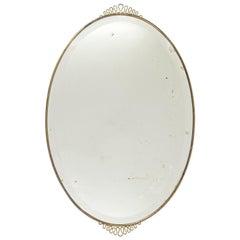1940s Italian Oval Brass Mirror