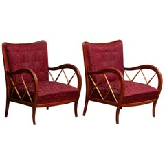 1940s Italian Pair of Paolo Buffa Lounge Chairs in Mahogany and Beech