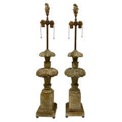 1940s Italian Regency Style Carved Wood Lamps, a Pair