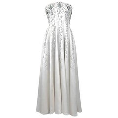 1940's Ivory Embroidered Rhinestone Beadwork Satin Strapless Bridal Gown
