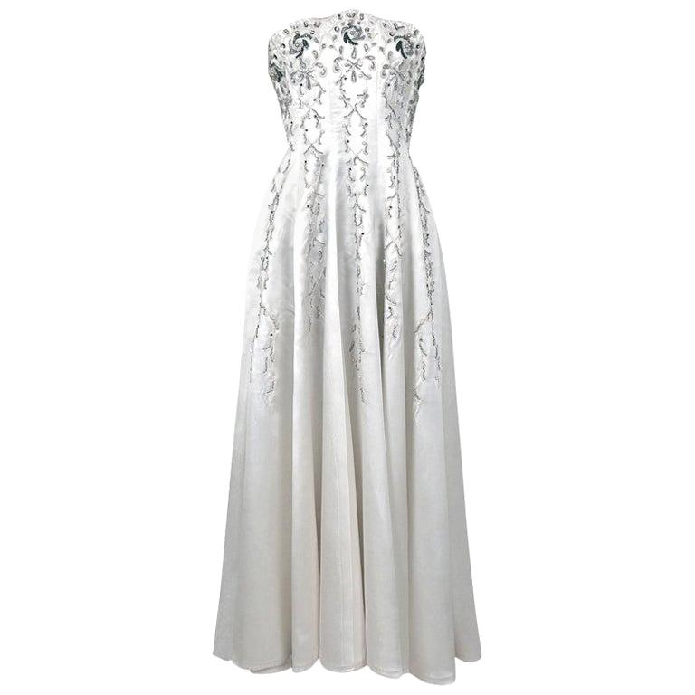 1940's Ivory Embroidered Rhinestone Beadwork Satin Strapless Bridal Gown For Sale