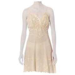 1940S Ivory Hand Embroidered Silk Crepe De Chine Bias Cut Mini Slip Dress