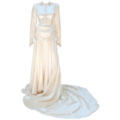 1940's Ivory Satin Draped Wedding Dress With Bustle & Train