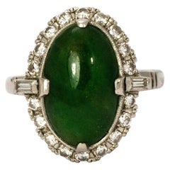 1940s Jade Cabochon Diamond 18 Karat White Gold Ring