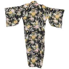1940's Japanese Floral On Black Rayon Kimono